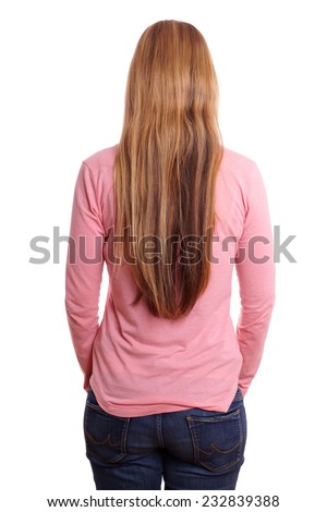 young woman with long blond hair seen from behind