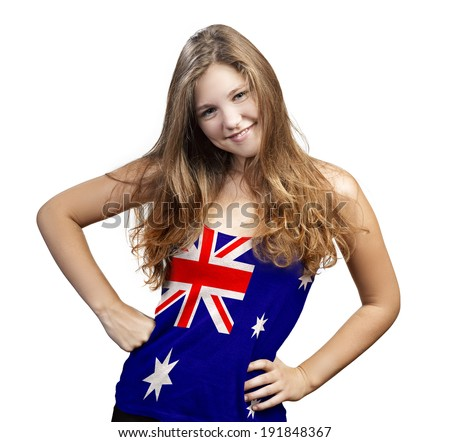 Young Woman with long curly hair and a t-shirt of Australia on a white background