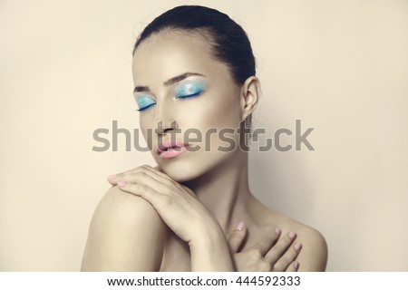 young woman with lovely pastel makeup, beauty portrait
