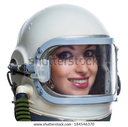 Young woman with makeup wearing vintage space helmet isolated on white background. Space beauty woman concept - stock photo