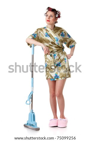 Young woman with mop on a white background. Housekeeping. - stock photo