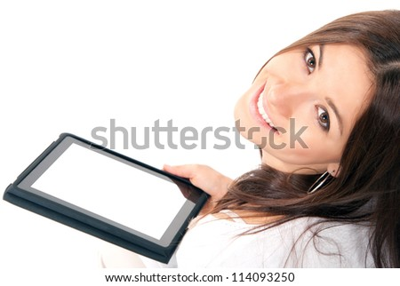 Young woman with new electronic tablet touch pad computer pc in hands with white digital screen - stock photo