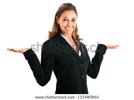 Young woman with open arms isolated on white - stock photo