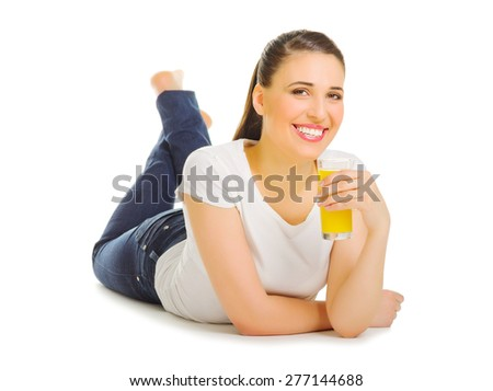 Young woman with orange juice isolated - stock photo