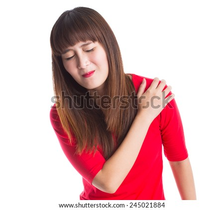 Young woman with pain in her shoulder, Isolated on white background - stock photo