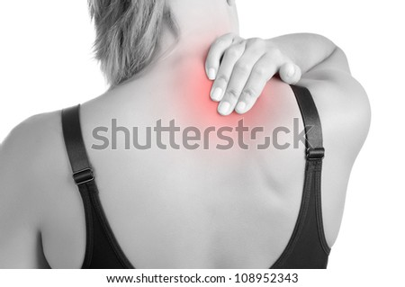 Young woman with pain in the back of her neck