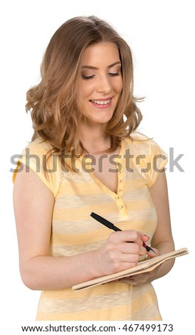 Young Woman With Pen and Note Pad