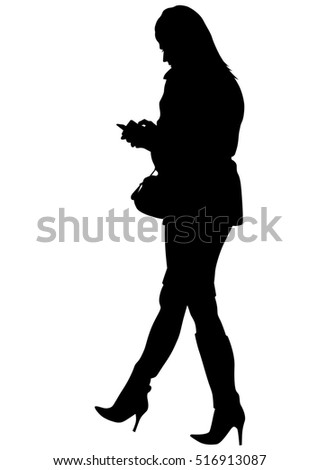 Young woman with phone on a white background