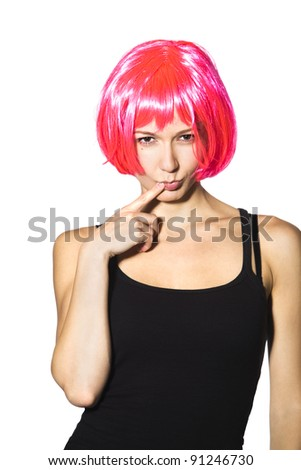 young woman with pink wig - stock photo