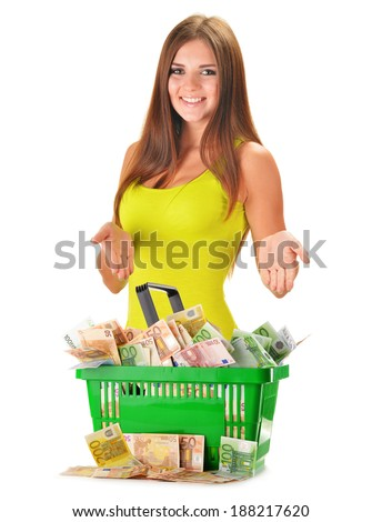 Young woman with plastic shopping bag full of paper money isolated on white