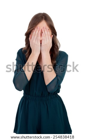 Young woman with problems isolated on a white background - stock photo