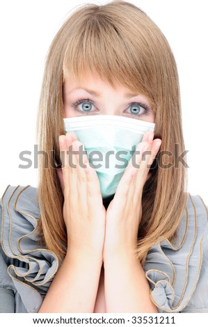 Young woman with protective mask in panic about virus epidemic