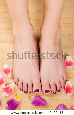 Young woman with purple varnished toenails displaying her bare feet surrounded by fresh tulip petals on a wooden floor in a beauty and cosmetics concept
