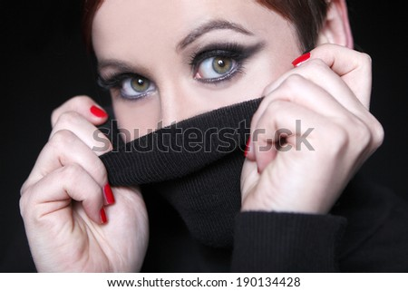 Young woman with red lips - stock photo