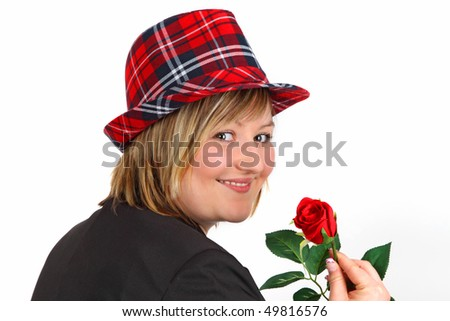 Young woman with red rose on white background