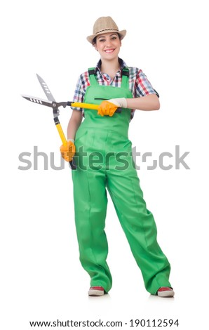 Young woman with shears on white - stock photo
