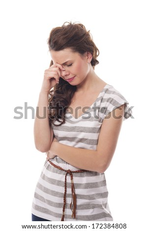 Young woman with sinus pressure - stock photo