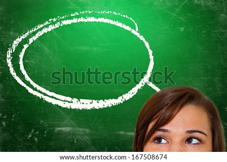 Young woman with speech bubble - stock photo