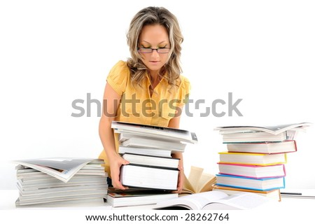 young woman with stack of books