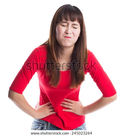 Young woman with stomach pain isolated on white backgorund