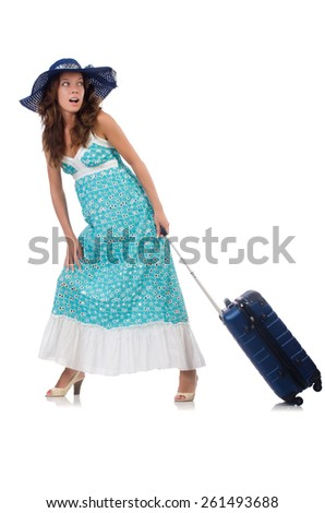 Young woman with suitcase isolated on white - stock photo