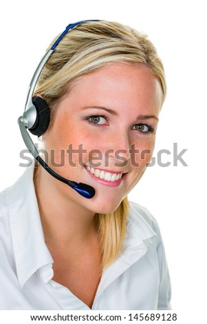 young woman with telephone headset in the office in order acceptance. sales and customer service. - stock photo