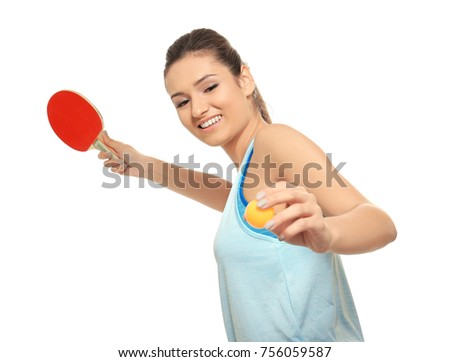 Young woman with tennis racket and ball on white background