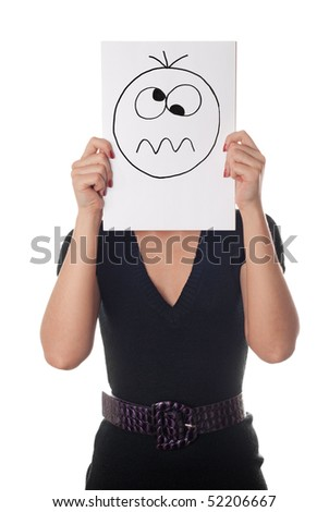 Young woman with the painted crazy smile on the sheet of paper over his face isolated on white - stock photo