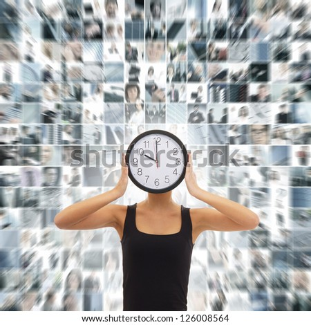Young woman with the watches over the abstract business collage - stock photo