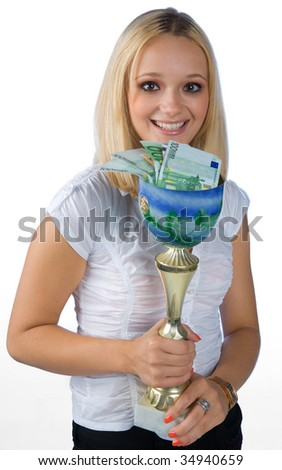 young woman with trophy full of money - stock photo