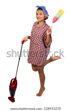 Young woman with vacuum cleaner - stock photo