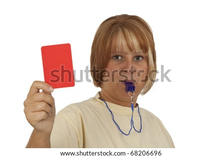 Young woman with whistle and red card isolated on white background - stock photo