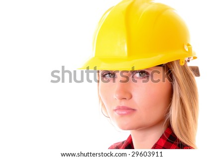 Young woman with yellow helmet isolated on white