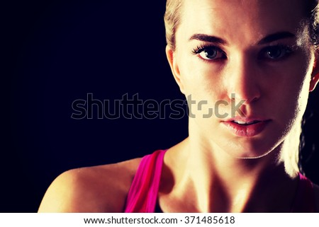 Young woman without make up on gym - stock photo