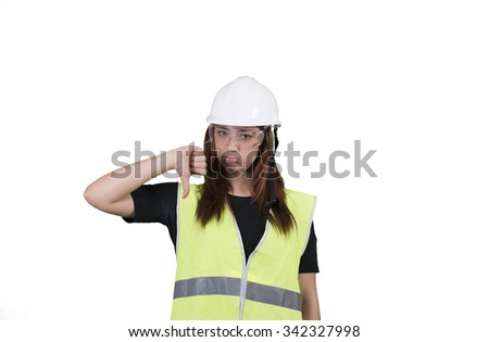 Young woman worker thumb down on white background isolated