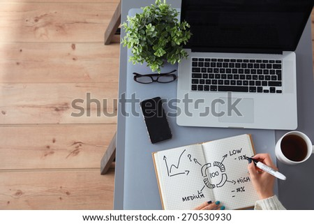 Young woman writes to diary on a table - stock photo