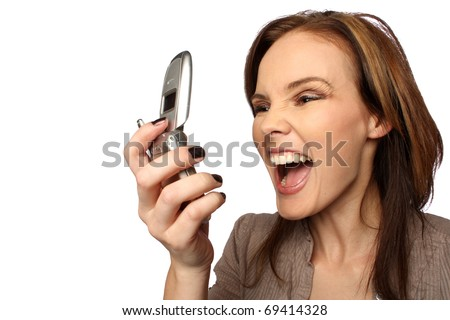 Young woman yelling at her cell phone
