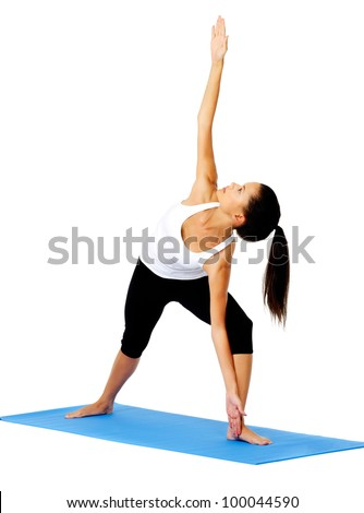 Young woman yoga side angle. This is part of a series of various yoga poses by this model, isolated on white - stock photo