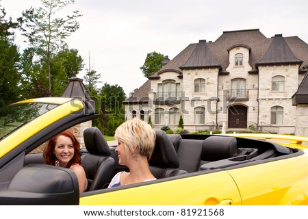 Young women going for a joy ride - stock photo