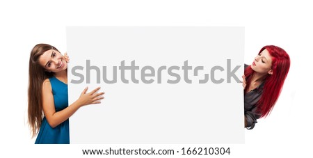 young women holding a banner isolated on white