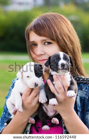 Young Women Holding Two Cute Little Puppies American Staffordshire Terrier - stock photo