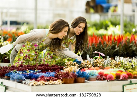 Young women in flower garden - stock photo