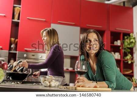 Young women in the kitchen