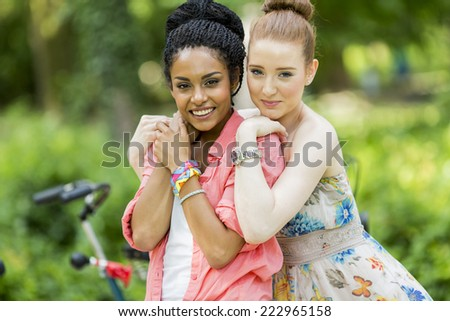 Young women in the park