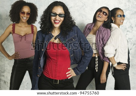 Young women modeling clothing