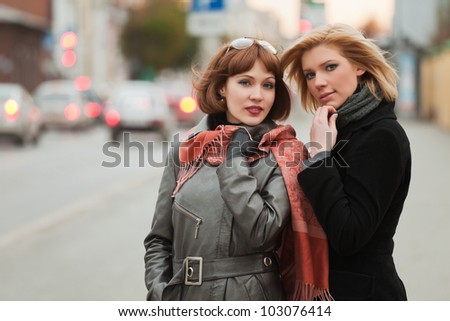 Young women on a city street