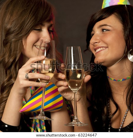 Young women on New Year Party - stock photo