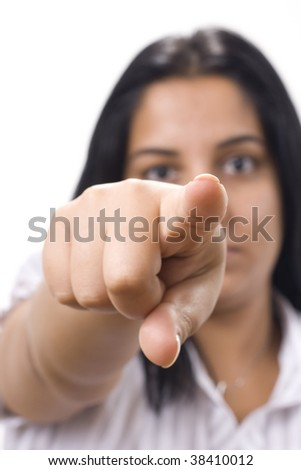 young women pointing to something with finger - stock photo