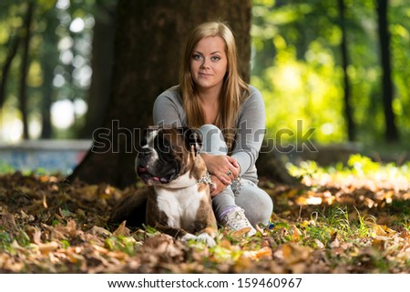 Young Women With Dog
