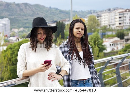 young women with mobile phone